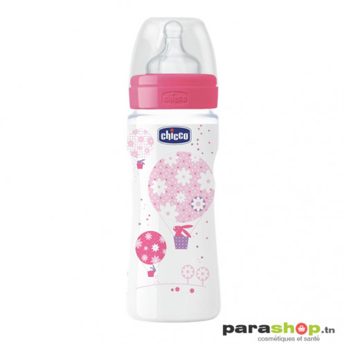 Chicco Biberon Well-Being - 330ml - Tétine silicone - Rose 4M+