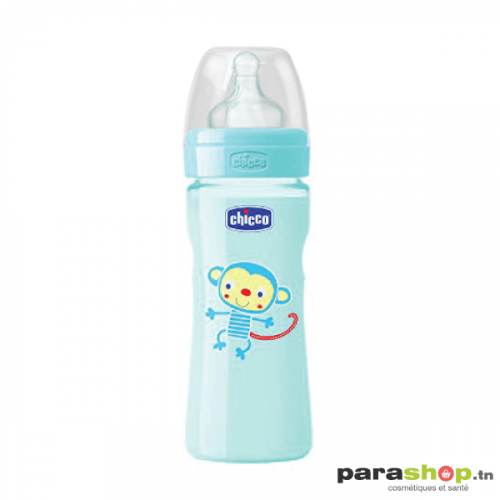 Chicco Biberon Well-Being - 330ml - Tétine silicone - Bleu 4M+