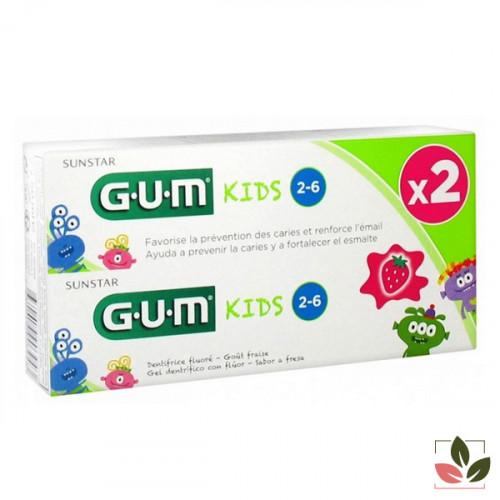 Gum Kids dentifrice fraise 2-6 ans 2X50 ml